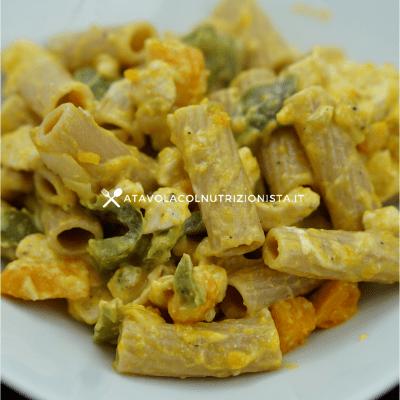 pasta integrale pollo peperoni e zucca e philadelphia