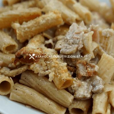 pasta integrale al forno funghi e prosciutto