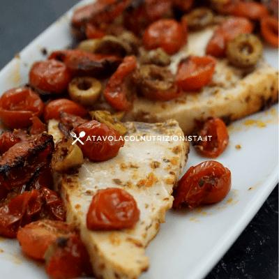 pesce spada pomodorini e olive