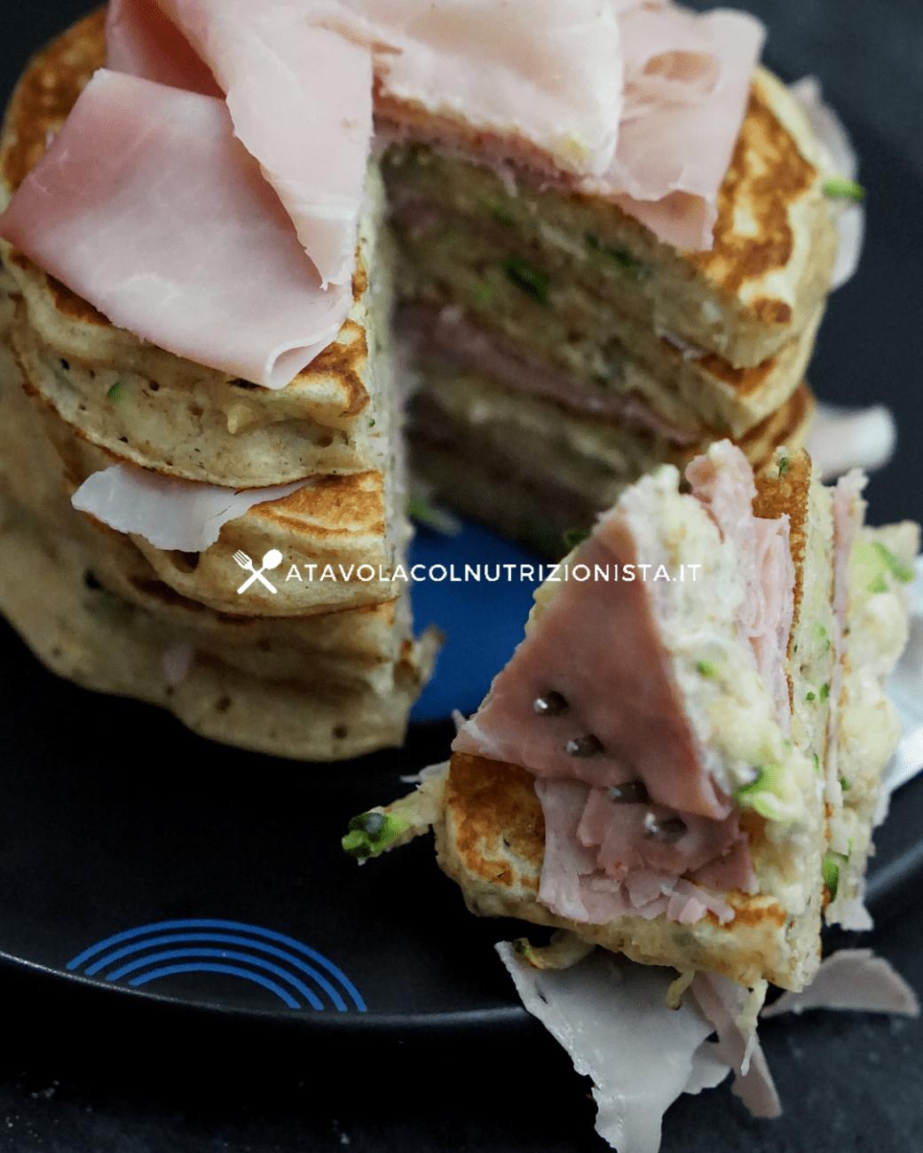 Pancake salati alle zucchine e prosciutto