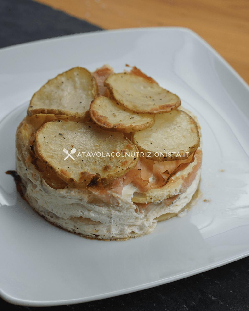 Tortino di patate con ricotta e prosciutto cotto