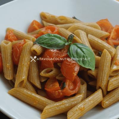 pasta integrale pomodorini e basilico