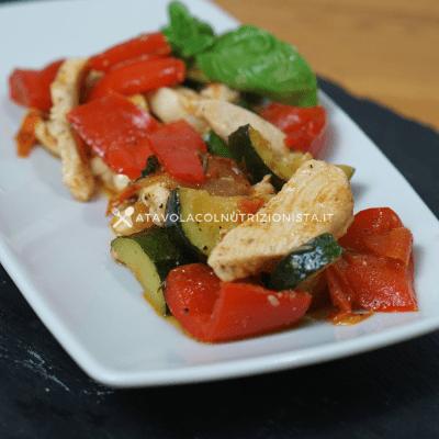 Straccetti di petto di pollo con le verdure