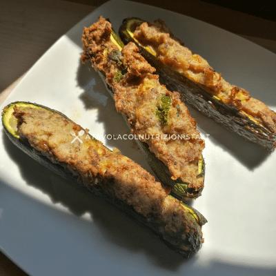 zucchine ripiene di carne e patate