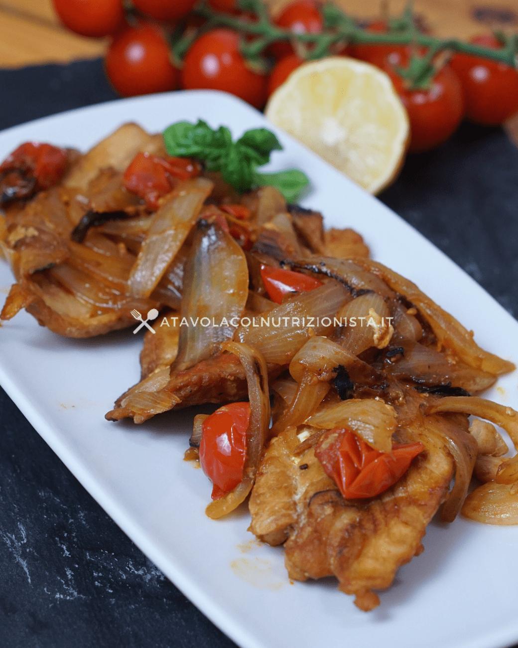 Filetti di Cernia Cipolla e Pomodorini