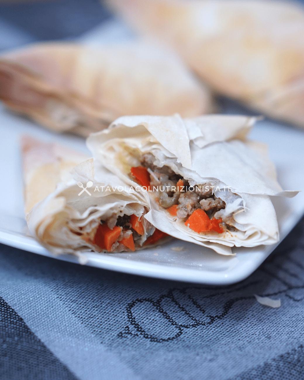 Fagottini di Pasta Fillo Ripieni di Macinato e Verdure