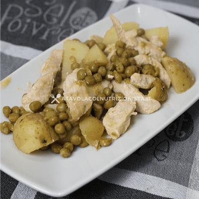 petto di pollo patate e piselli