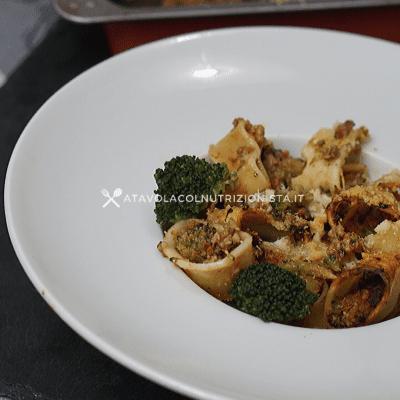 pasta calamarata al forno macinato broccoli pomodoro