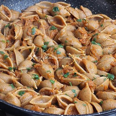 ricetta pasta integrale con la crema di zucca