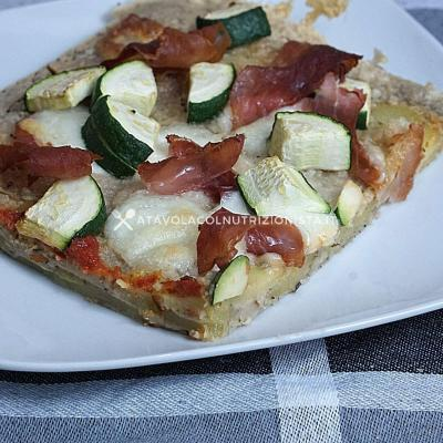 pizzetta di patate con prosciutto e zucchine
