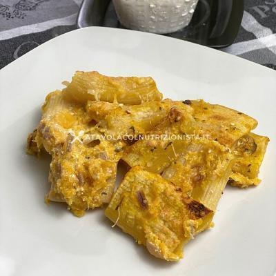 Pasta con Crema di Ricotta e Zucca Gratinata