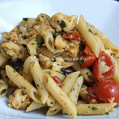 ricetta della Pasta con Platessa Pomodorini e Olive