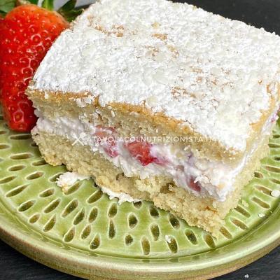 ricetta torta farcita fragole ricotta e cocco con farina di avena