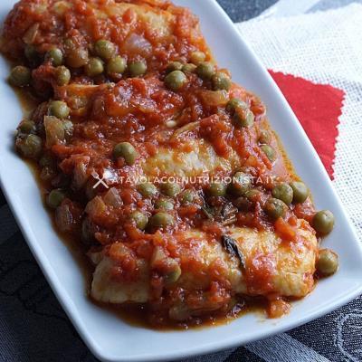 ricetta Merluzzo Pomodoro e Piselli